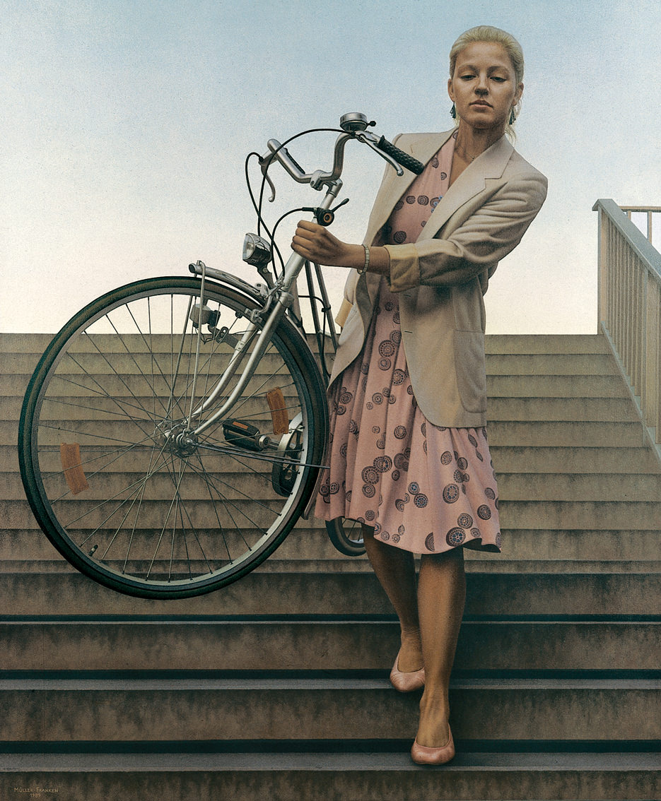 Woman Carrying a Bicycle I
