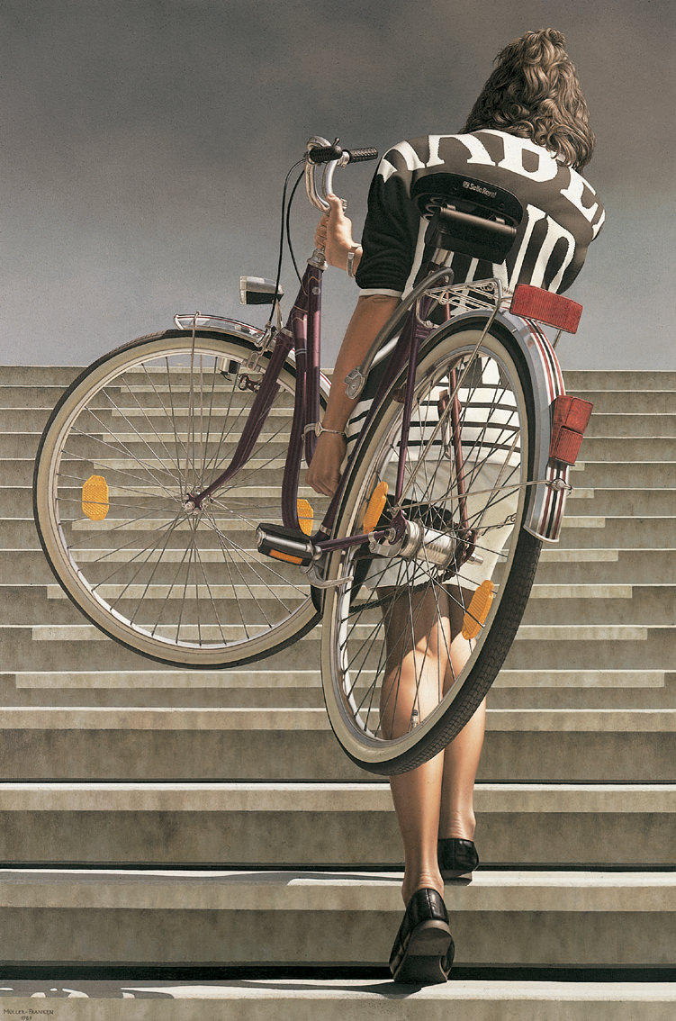 Woman Carrying a Bicycle II