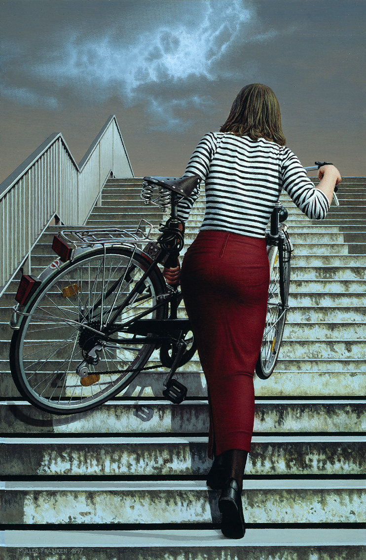 Woman Carrying a Bycicle III